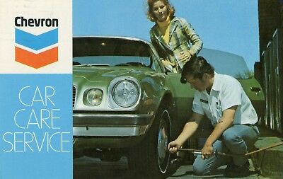 Chevron Car Care Advertising With Early 1970's Camaro Postcard 1976 Cancel