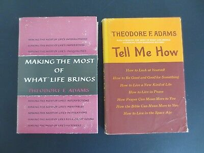 Lot of 2~Books by Theodore F Adams~Tell Me How & What Life Brings~Baptist~HC/DJs