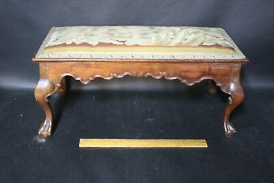 Antique 18thc Portuguese Footstool With 18thc Embroidered Top Ball & Claw Foot