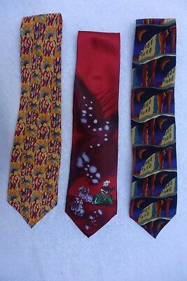 Jerry Garcia Necktie - Lot of 3 Ties - Good to Very Good Condition As Noted
