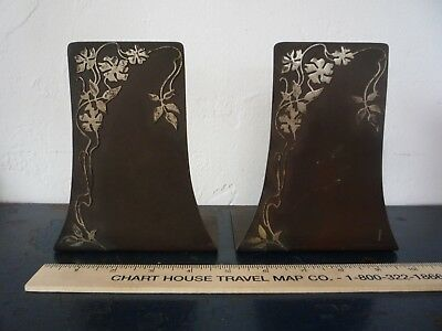 Antique Heintz Sterling Silver on Bronze Metal Bookend Pair Arts & Crafts Floral