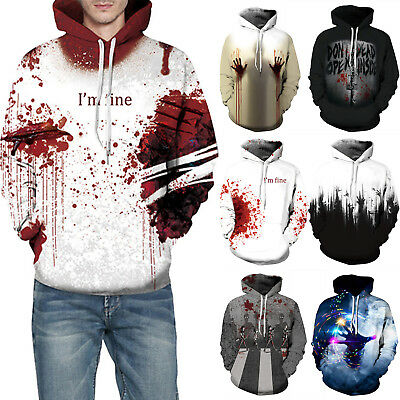 I'm fine 3D Couples Halloween Blood Wound Scary Sweatshirt Hoodies Pullover Tops