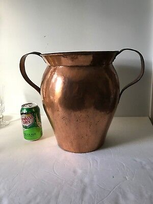 """Vintage Antique Dovetail 2 Handle Copper 11.5"""" tall urn mantle fireplace bucket"""
