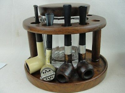 Vintage Deco 10 Pipe Holder Walnut Tobacco Rack Glass Humidor With 4 Pipes