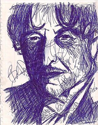 Blue ink drawing of Bob dylan scribble by artist Mark Robinson original signed