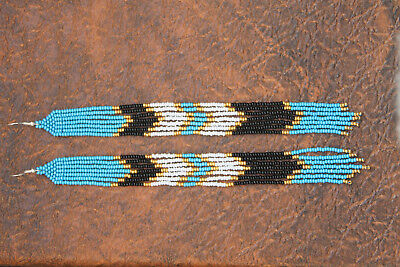 eee50797d3b51 NATIVE AMERICAN STYLE Beaded earrings, Blue white gold color seed bead  earrings