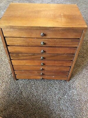 Antique Dental Cabinet Wooden 8 Drawers Dentist Machinist Medical Tool Chest