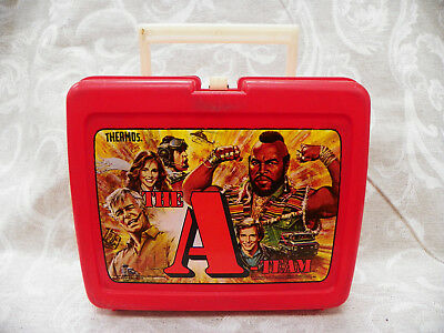A - Team Plastic Lunch Box with Thermos Vintage 1983 Retro