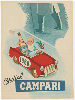 1950s Campari Liqueur Italy Vintage Advertisement Print ~ Baby in Car, New Years