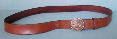 Vintage Pan Am Stewardess Leather Belt with Metal Buckle Size 30