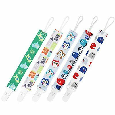 GAGAKU 5 PCS Dummy Clips Pacifier Holder for Girls and Boys  Multicoloured