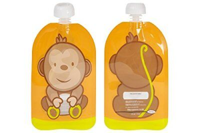 Reusable Baby Pouch Fill n Squeeze Bottom Opening for Easy Cleaning. 6 x 150 ml