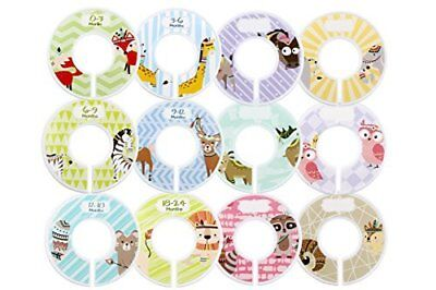 Minnebaby 12 Pack Baby Clothing Closet Dividers with 4-Piece Label, Set of Pre-P