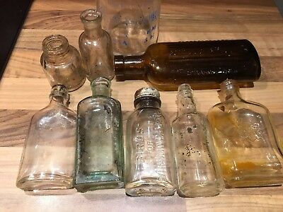 Job Lot Collection Of Old Glass Bottles Vintage Collectors