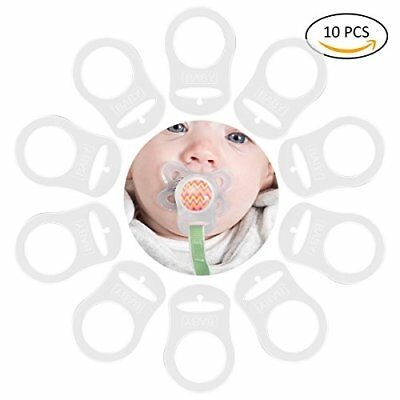 TankerStreet 10 PCS Baby Ring Adapter for Pacifier Chains Clear Silicone Button-