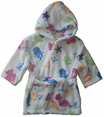 18-24 months - Baby Girls Fluffy White Multicoloured Sea Fish Hooded Dressing Go