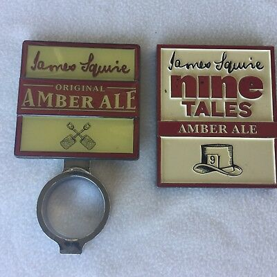 James Squire AMBER ALE + NINE TALES BEER TAP TOP METAL BADGE IN GOOD CONDITION