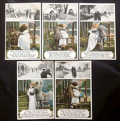 EARLY BIRN BROS. - SQUEEZEY TOWN STILE SERIES of 5 POSTCARDS FINE COND. c.1905