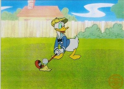 "Disney Animation Sericel ""Donald Golf"" Donald Duck golfing sports art unframed"