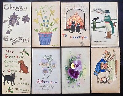 8 HAND DRAWN & COLOURED POSTCARDS - BLACK CAT SHOOTING VG/FINE COND PCs c.1905