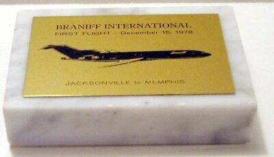 Vintage Braniff International Airways 1St Flight Marble Paperweight Dec 15,1978