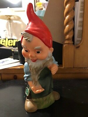 "Vintage Heissner Large 11"" Lawn Gnome #944 With Green Tag West Germany"