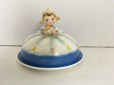 VINTAGE LEFTON  DUTCH GIRL COVERED BUTTER DISH VERY NICE Hard To Find