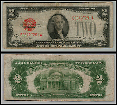 1928g $2 DOLLAR BILL  US NOTE LEGAL TENDER PAPER MONEY  RED SEAL G661