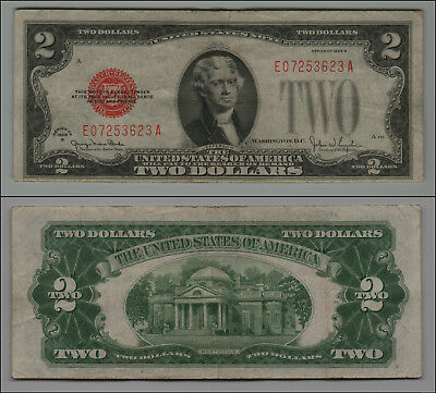 1928G $2 Dollar Bill Old Us Note Legal Tender Paper Money  Red Seal =B19