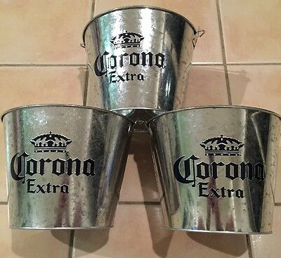 Set of three 3 genuine corona extra beer buckets. Man Cave Bar Pub Home Brew