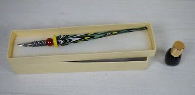 Antique Murano Glass Victorian Calligraphy Fountain Pen for Ink Pot Well Boxed