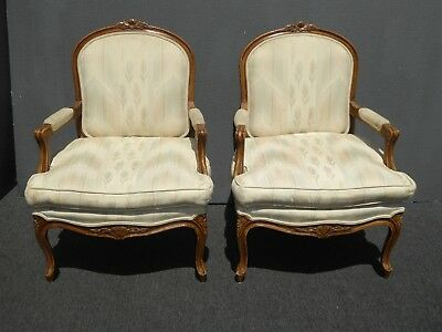 Pair of Vintage French Country Style Carved Wood Beige Accent Chairs