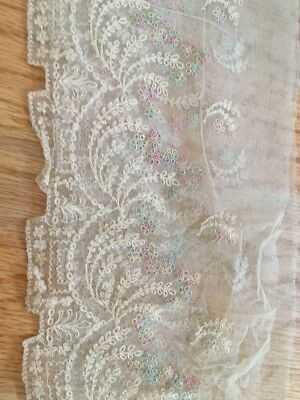Antique Vtg Net Lace Pink Blue Flower  Embroidery Remnant Tambour Victorian