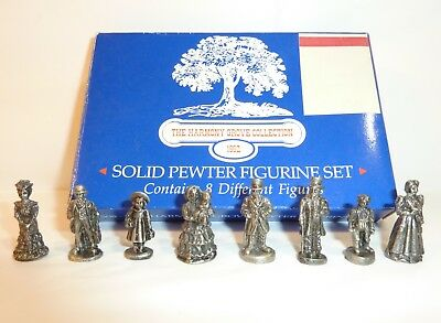 """Vintage Harmony Grove Collection Solid Pewter Victorian Mini 1"""" Village Figures"""