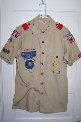 B.S.A. BOY SCOUTS-UNIFORM SHIRT w/ PATCHES, SHOULDER LOOPS, ORDER OF ARROW ,1994