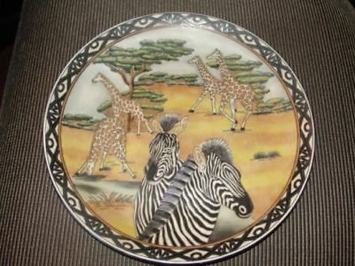 """zebra & Giraffe Family"" Decorative 10"" Oriental Accents Plate"