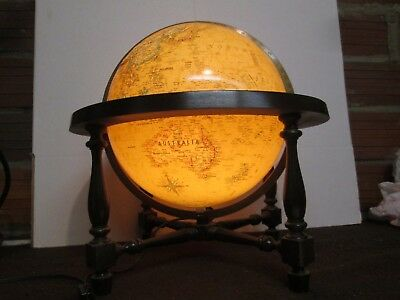 """12"""" Lighted Globe Excellent shape  Replogle Heirloom Wood Footed Frame GREAT"""