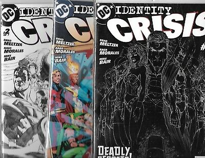 Identity Crisis Lot; Issues #1 (Negative), #1 (2nd Print) & #2 (Sketch)