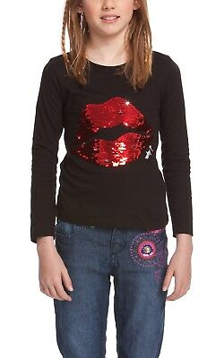 New Desigual Cotton Istan Girl Long Sleeve T-Shirt Black By OZSALE