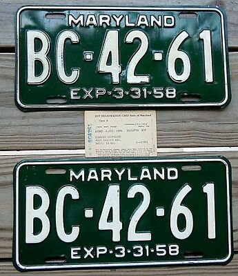 1958 Maryland Yom Pair License Plate Tag Number Bc 4261 Classic Md Vintage