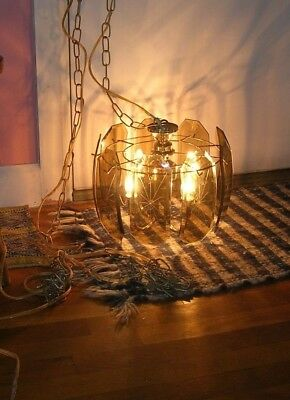 Vintage,beveled,etched,smokey Glass,hanging,swag,chandelier,lamp,w/ Chain,nr