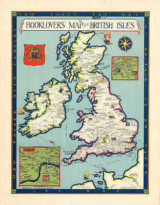 The Booklovers Map of the British Isles 1927 75cm x 58.6cm Quality Art Print