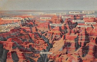 B9088 Air View Grand Canyon AZ with Labels - 1938 Linen Postcard Teich # 8A-H717