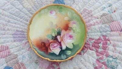Antique Hand Painted French JPL France Stouffer Pink Rose Roses
