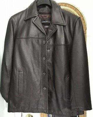 9ab9fab35f4 Men s Leather Car Coat Jacket M Medium Brown JIM   MARY LOU Gently Used