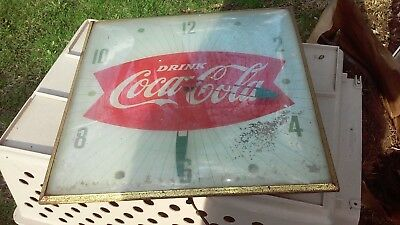 "Vintage 1950s Coca Cola Coke  Fishtail 15"" Pam Wall Clock Sign *Works*"