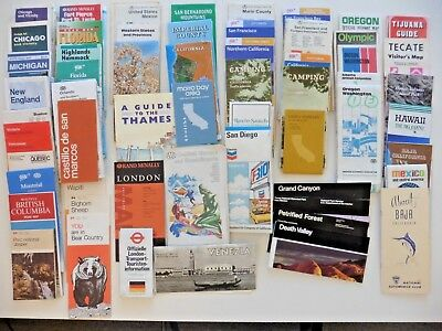 Vintage TRAVEL MAPS Lot of 50+ Maps and Travels Brochures 1970's-1980's Various