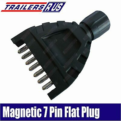 Magnetic Trailer 7 Pin Flat In-Line Plastic Plug with Magnet ADR Approved