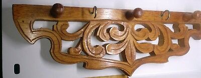 """Wooden Wall Coat Rack of Genuine Wood, Appears to be Hand Carved 18"""""""