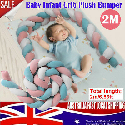 2M Baby Bed Bumper Toddler Newborn Crib Cot Bedding Braid Pillow Pad Protector